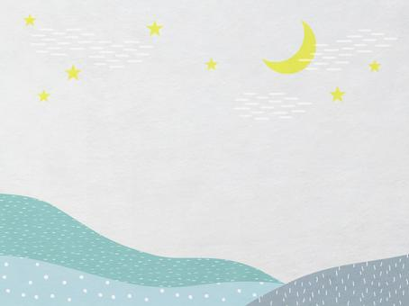 Japanese paper of sky, moon and mountain scenery_green modern Japanese pattern texture_background material