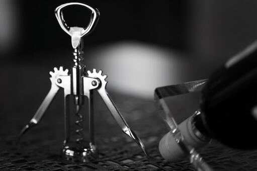 Wine opener black and white