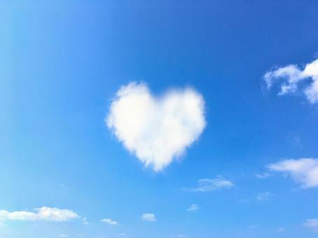 Blue sky and clouds of heart 1