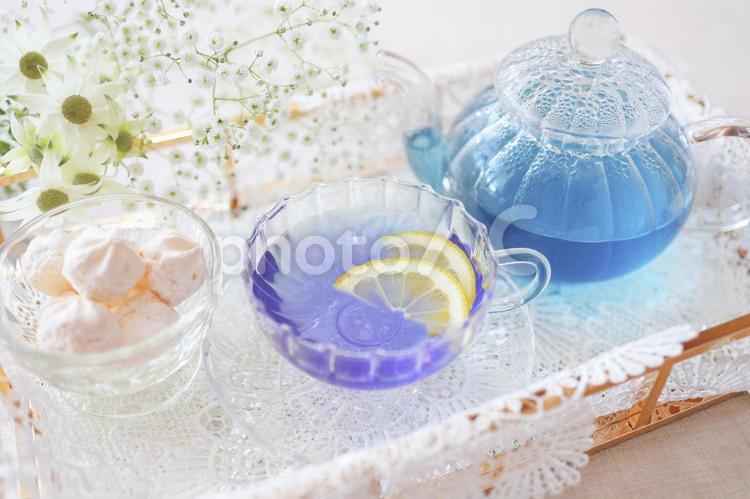 青いお茶 バタフライピーティーの写真