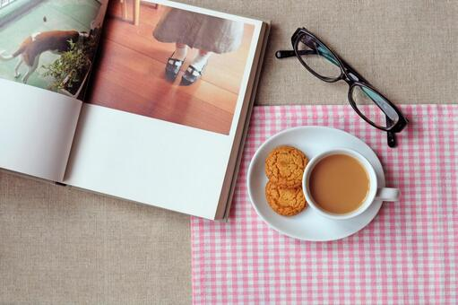 Milk tea and book and glasses 2