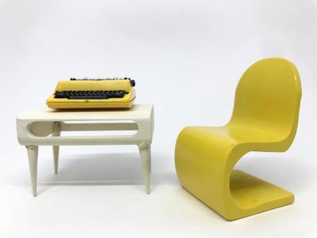 Typewriter placed on a retro pop chair and desk, work / telework image (white background)