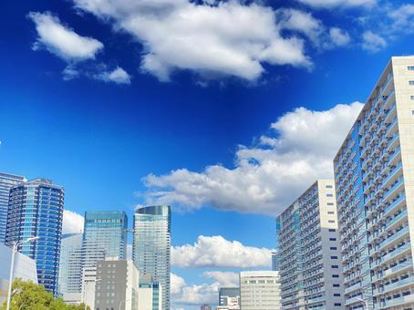 Buildings and blue sky Blue wallpaper Copy space Background Transparent cityscape