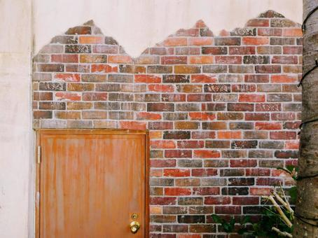 Background Material_Texture Red Brick Exterior Wall Door