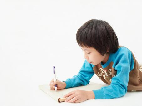 Elementary school students on a white background / study