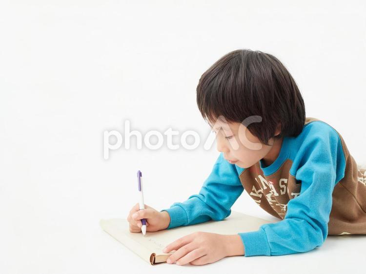 白背景の小学生・勉強するの写真
