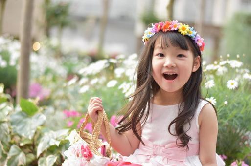 兒童和鮮花