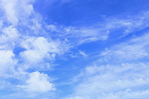 Blue sky with delicate clouds that feel the wind