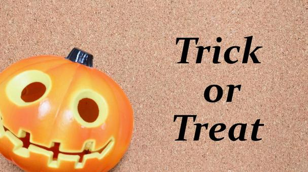 """Cute pumpkin """"Trick or Treat"""" message (horizontal) 