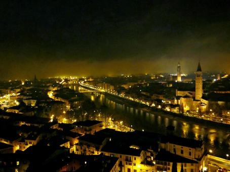 Verona night view Italy Europe overseas landscape