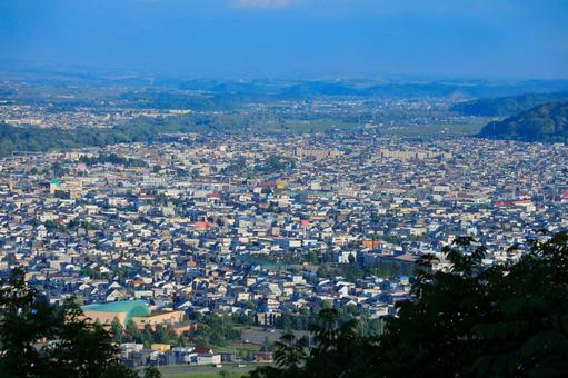 View from Arashiyama Observatory in Asahikawa City Residential area in Kamui district