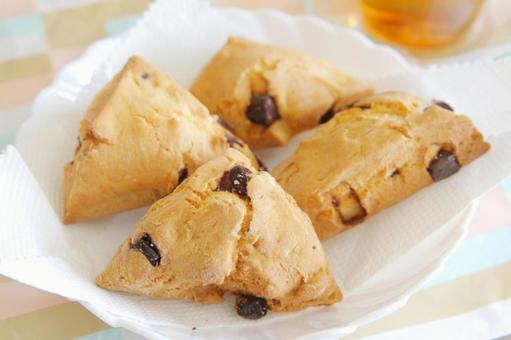 Triangular chocolate scones