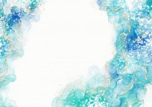 Background Texture Alcohol Ink Watercolor Art Lame Glitter Gold Powder Blue Emerald Blue