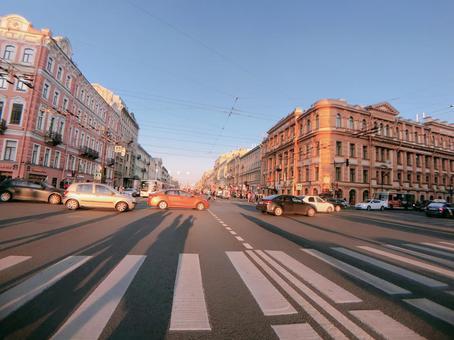 러시아 상트 페테르부르크의 거리 풍경