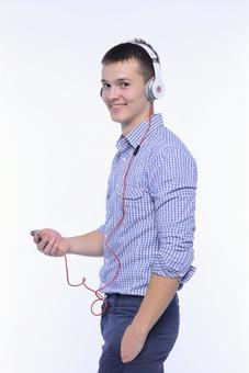 Male listening to music 6