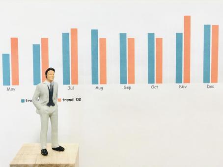 Business scene (salaryman explaining the graph)