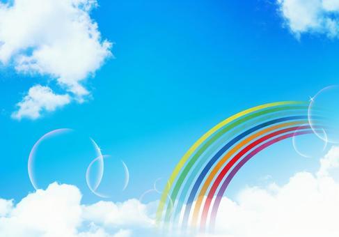 Blue sky and rainbow