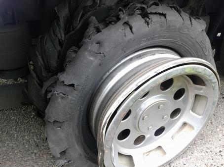 Burst tire