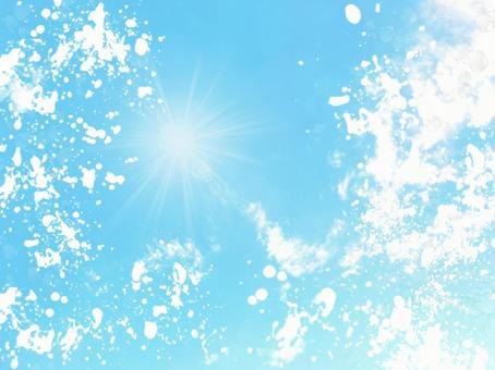 Splashes and blue sky / cool feeling / bubbles / background / material texture / wallpaper / image / white / blue / sky / SKY / blue sky / clear / sunny / scenery