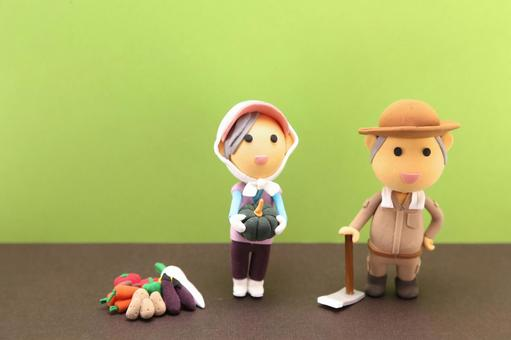 Clay doll farmer 14