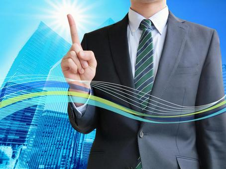 Business man pointing point-office building line wave background