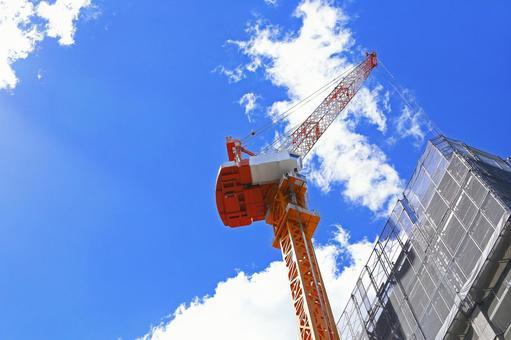 工事現場 タワークレーン 建設重機 イメージ素材