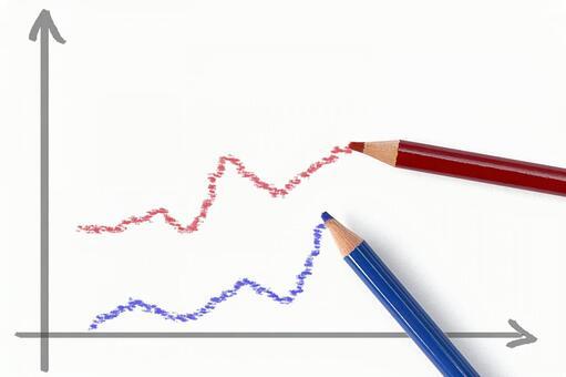 빨간색과 파란색 선 그래프