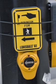 보행자 신호등 용 푸시 버튼 스위치 밴쿠버 브리티시 컬럼비아 캐나다