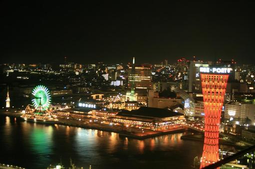 고베 포트 타워의 야경 (30F부터 7 월)