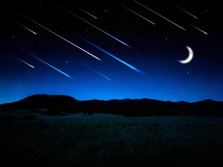 Shooting star and crescent moon and night meadow background material
