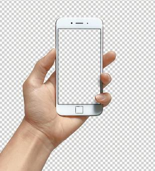 Hand cutout with smartphone Transparent material psd