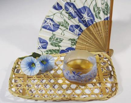 Barley tea and folding fan