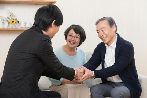 Business negotiation established (senior couple) 2