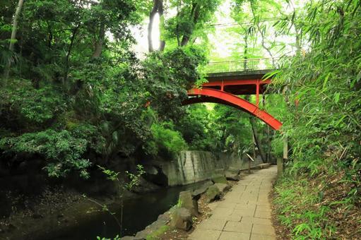 붉은 다리가있는 풍경