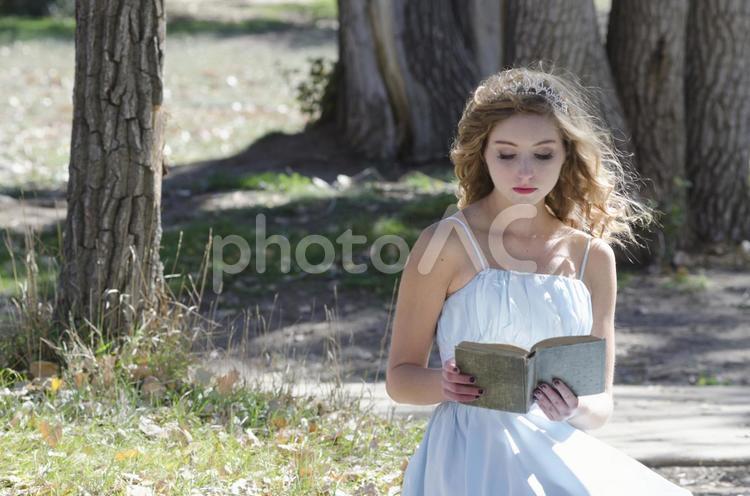 外で本を読む女性2の写真