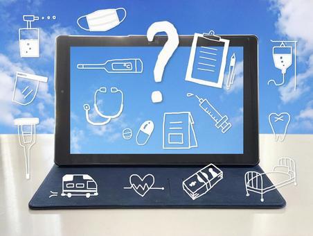 Medical illustrations around tablet screen_blue sky background