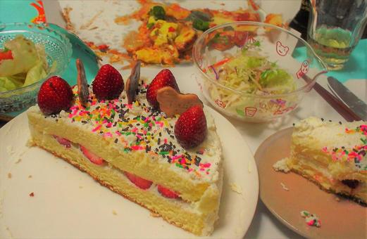 Handmade cake (in the middle of a party)