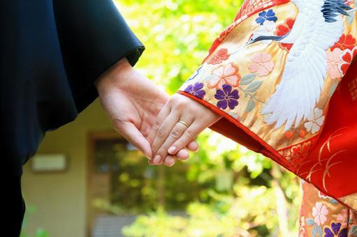 Kimono wedding hand holding hands