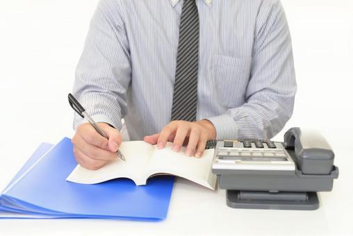 做文書工作的商人