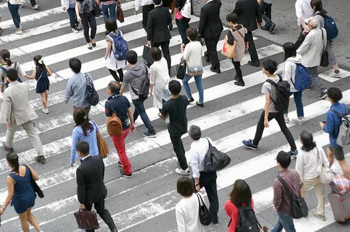 신호를 횡단하는 많은 사람들 2