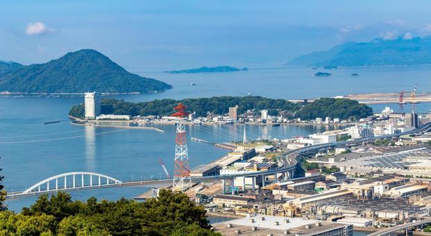 Hiroshima city sea and island scenery