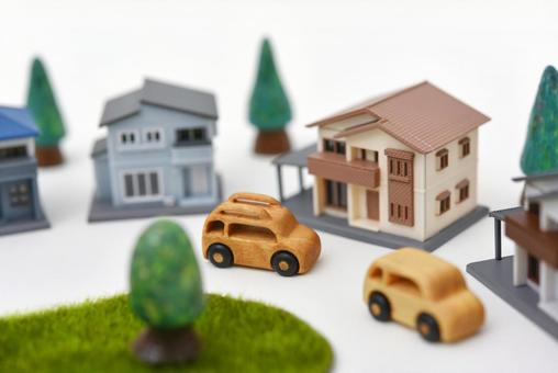 Toy town house and car