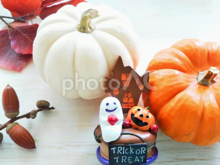 ハロウィン秋イメージ しいの実とカボチャとおばけの写真