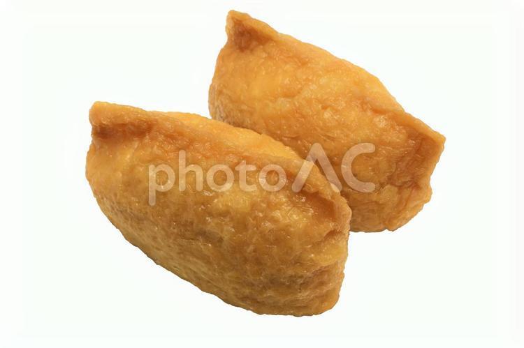 いなり寿司2個(PSDあり)お稲荷さんの写真