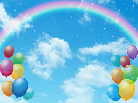Blue sky and rainbow, balloon and confetti background