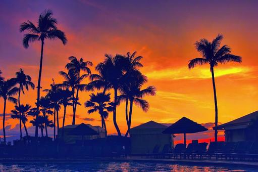 Sunset at a tropical resort