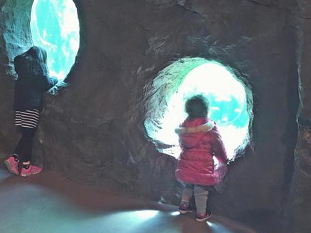 Girl looking at the aquarium