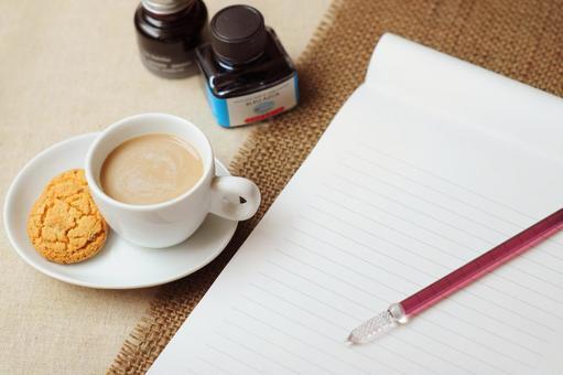 Cafe au lait and letter