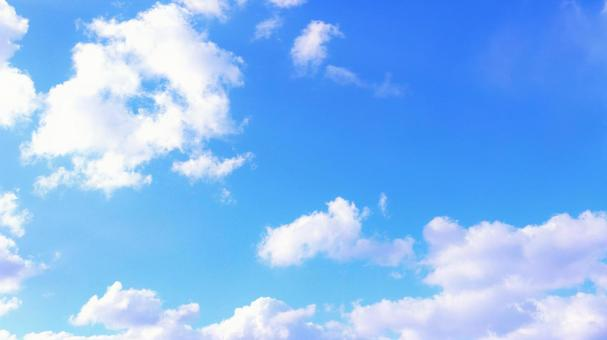 Background material of blue sky with beautiful clouds floating in the sky