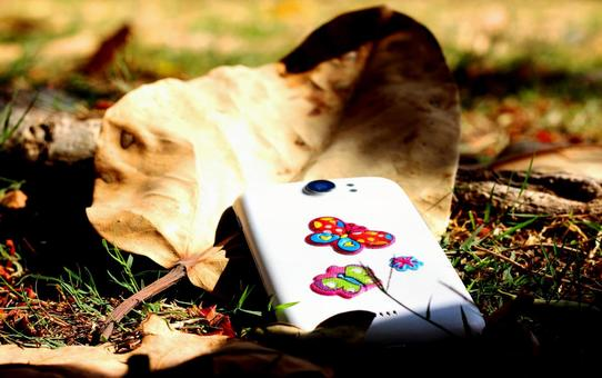 Fallen leaves and mobile phones